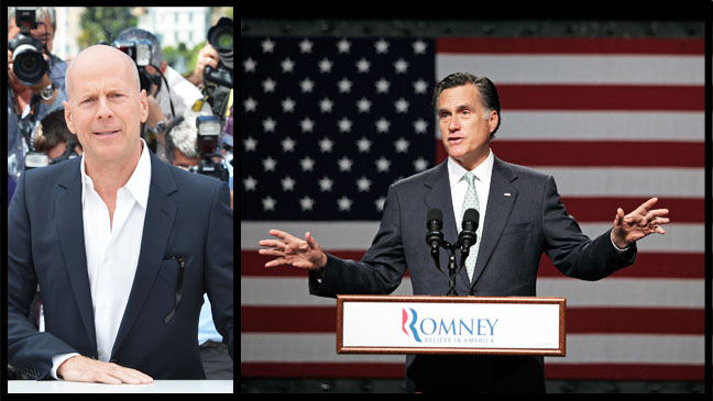 Bruce Willis Mitt Romney Split - H 2012