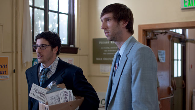 Jason Biggs as Phil Campbell and Joel David Moore as Grant Cogswell in GRASSROOTS H 2012
