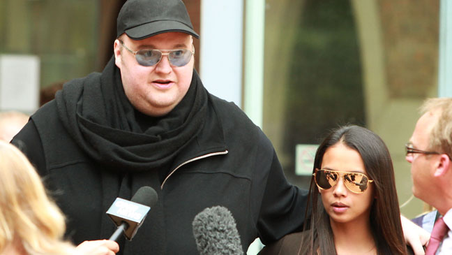 Kim Dotcom Mona Schmitz Leaving court - H 2012