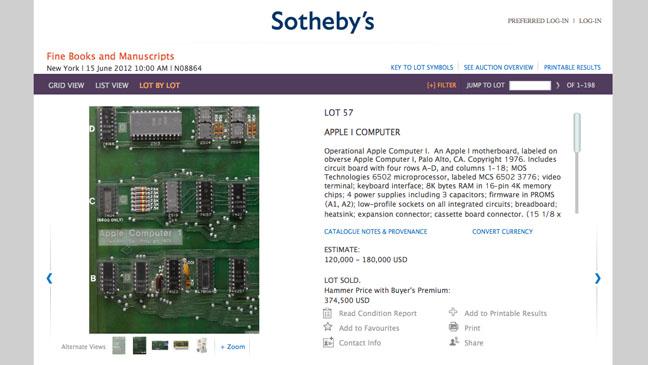 Apple Computer Board Sotheby's Website - H 2012