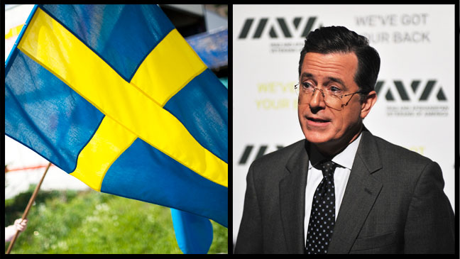 Stephen Colbert Swedish Flag Split -H 2012