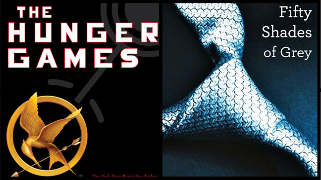Hunger Games Fifty Shades of Grey Book Cover Split - H 2012