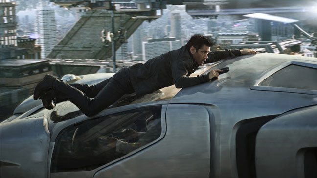 Total Recall Colin Farrell on Flying Car - H 2012