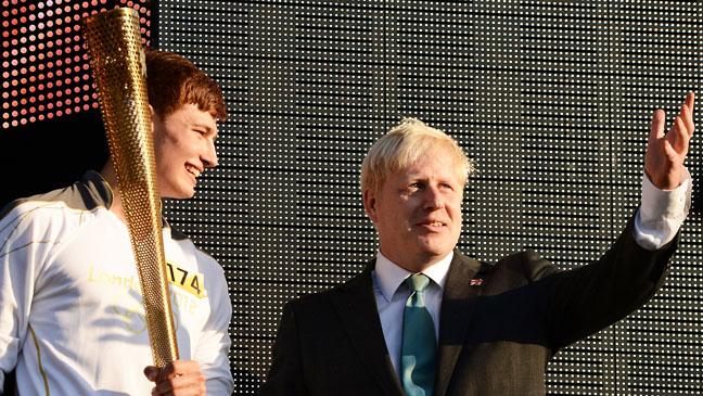 Boris Johnson with Olympic torch - H 2012