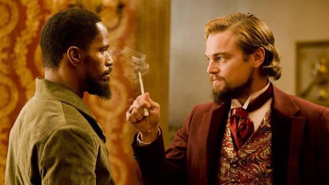 "Jamie Foxx and Leonardo DiCaprio in ""Django Unchained"""