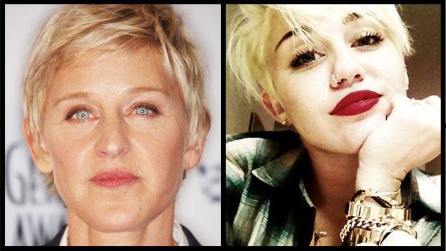 Ellen Miley Cyrus New Hair Split - H 2012