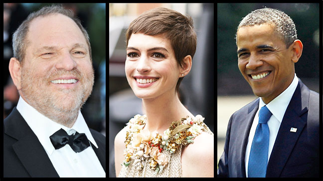 Harvey Weinstein Anne Hathaway Obama Split - H 2012