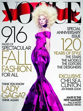 Lady Gaga Vogue Cover Purple Dress - P 2012