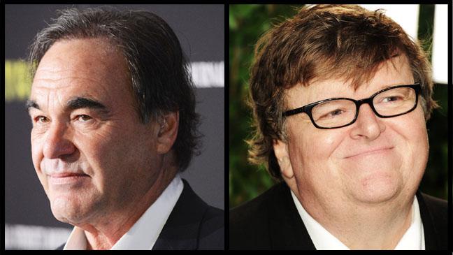 Oliver Stone Michael Moore Split - H 2012