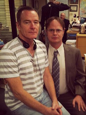 Rainn Wilson Bryan Cranston on set The Office - P 2012