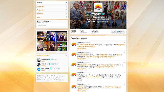 Twitter Redesign Today Show - H 2012