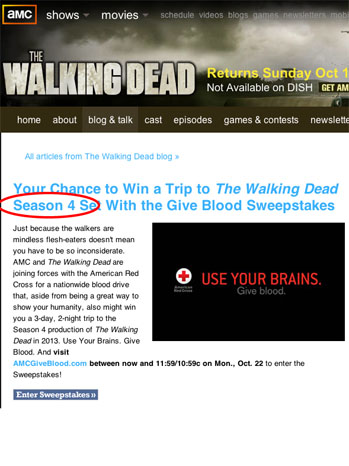 Walking Dead Swepstakes - P 2012