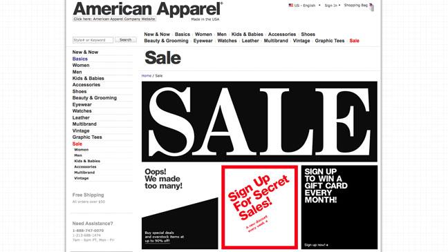 American Apparel Too Soon Sale - H 2012