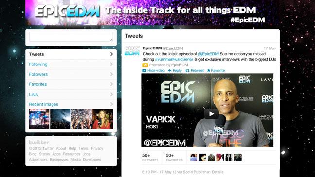 EpicEDM Twitter Page - H 2012