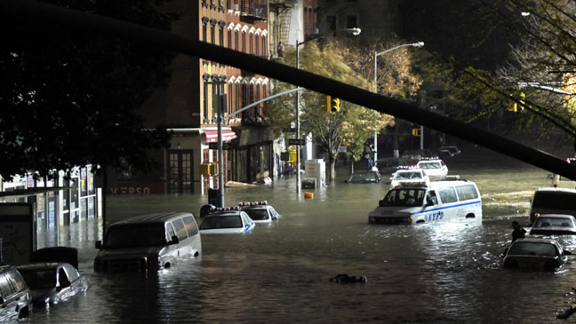 Hurricane Sandy Submerged NYPD Cars - H 2012