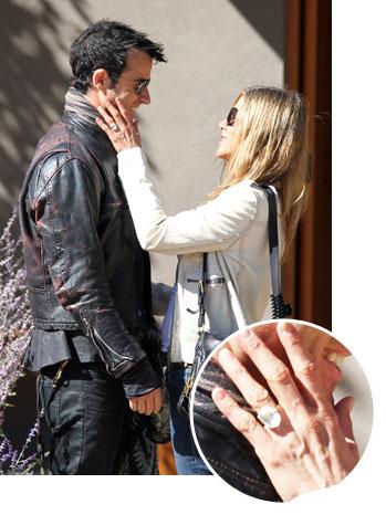 Jennifer Aniston Justin Theroux Engagement Ring Inset - P 2012