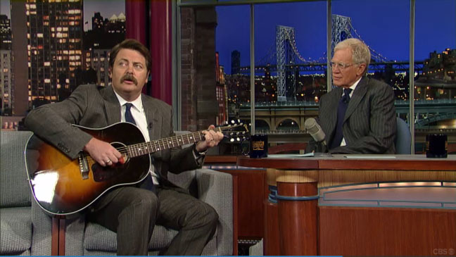 Late Show David Letterman Nick Offerman Singing - H 2012