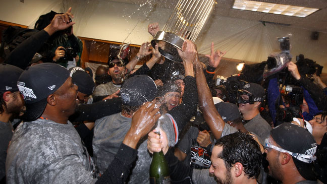 San Francisco Giants Locker Room Celebration - H 2012