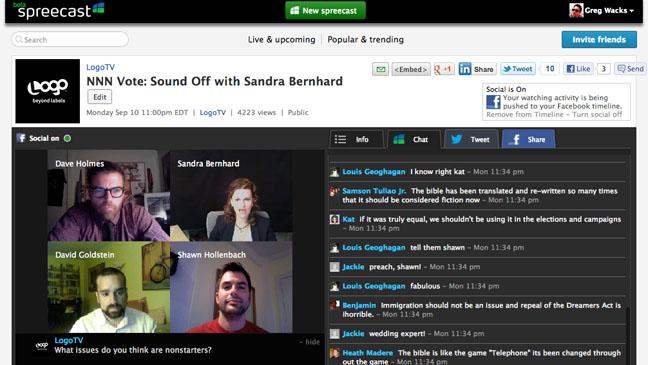 Spreecast Website Screen Grab - H 2012