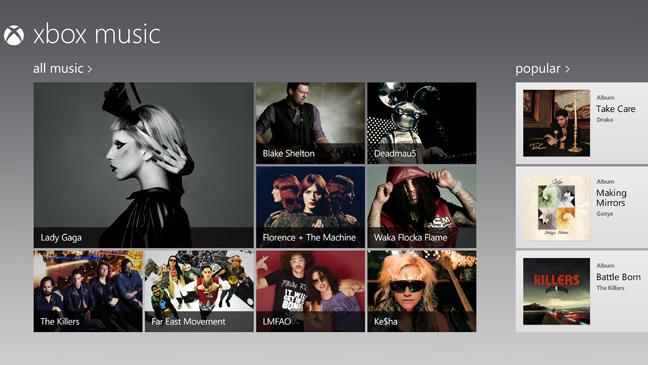 Xbox Music screen grab - H 2012