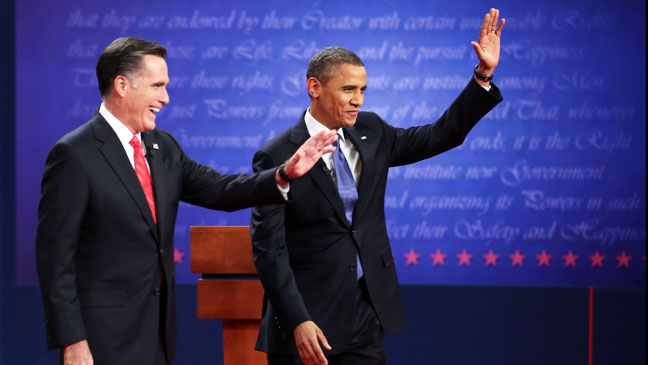 Obama Romney Debate Waving to Crowd - H 2012