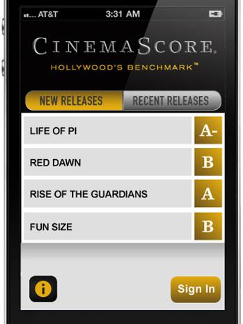 CinemaScore Mobile Screen Shot - P 2012