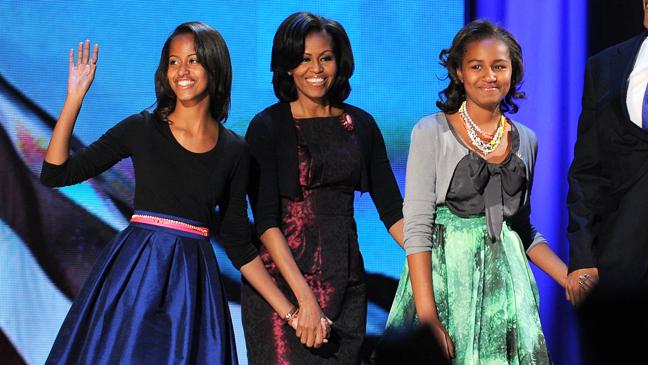 Michelle Obama Sasha Obama Malia Obama Election Night - H 2012