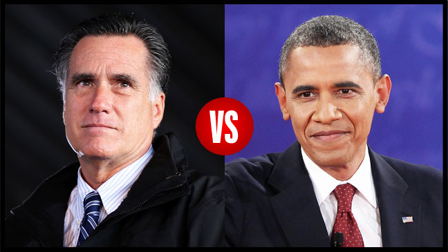 Obama Vs. Romney Headshots Split - H 2012