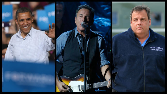 Barack Obama Bruce Springsteen Chris Christie - H 2012