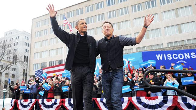 Barack Obama Springsteen at Rally - H 2012