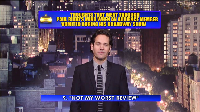 Late Show with David Letterman Paul Rudd Top 10 - H 2012