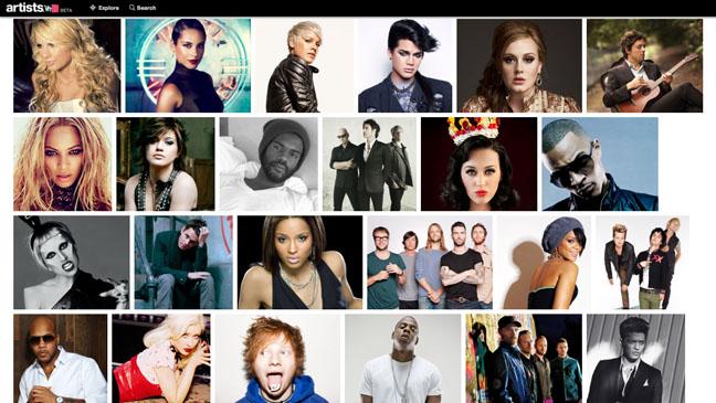VH1 Artists Website Screengrab - H 2012