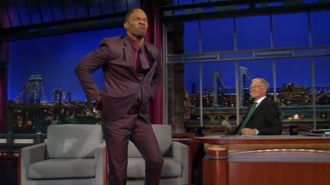 Jamie Foxx David Letterman 'Late Show' - H 2012