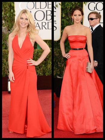 Golden Globes Claire Danes Jennifer Lawrence Red Dresses - P 2012