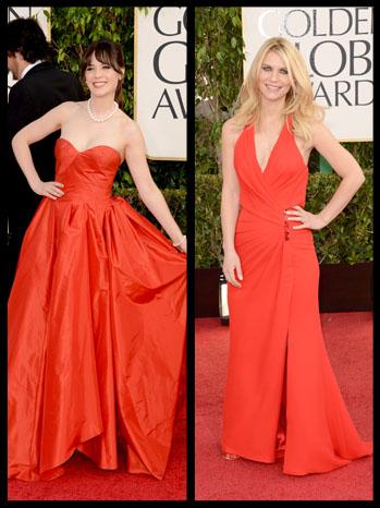 Golden Globes Zooey Deschenel Claire Danes Split - P 2013