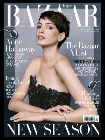 Anne Hathaway Harper's Bazaar Cover - P 2013