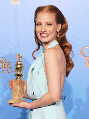 Jessica Chastain with Golden Globe Award - P 2013