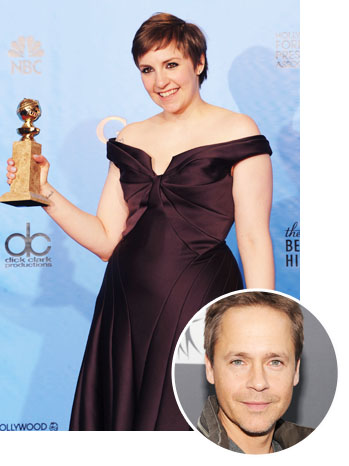 Lena Dunham with Golden Globe Chad Lowe Inset - P 2013