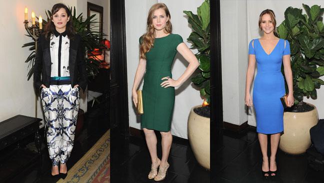 Marion Cotillard, Amy Adams, and Jennifer Lawrence - globe parties - split