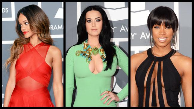 Grammy Dresses Split Rihanna Perry Rowland - H 2013