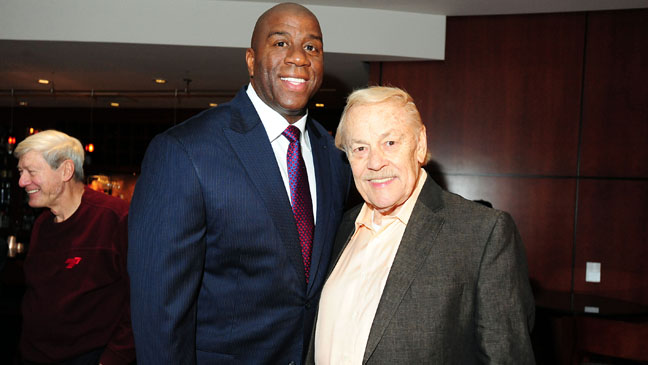 Magic Johnson with Jerry Buss - H 2013
