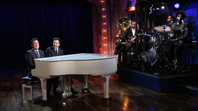 Late Night with Jimmy Fallon Stephen Colbert Duet - H 2013
