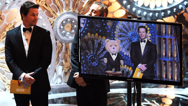Ted Mark Wahlberg on Screen at Oscars - H 2013