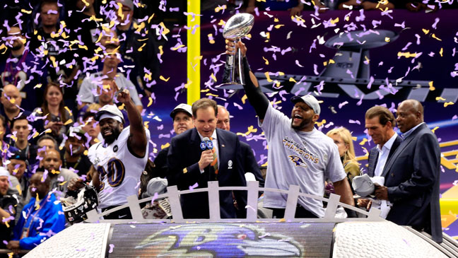 Ray Lewis With Super Bowl XLVII Trophy - H 2013