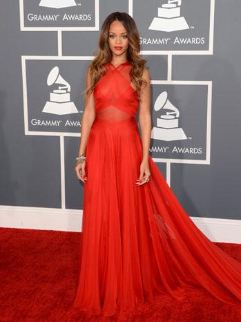 Rihanna Grammy Awards Red Dress - P 2013