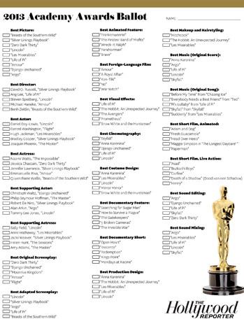 THR Oscar Ballot - P 2013