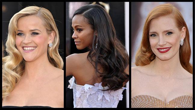 Witherspoon Saldana Chastain Oscars Split - H 2013