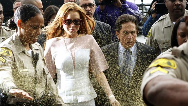 Lindsay Lohan Glitter Bombed - H 2013