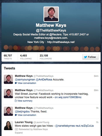 Matthew Keys Twitter page Screengrab - P 2013