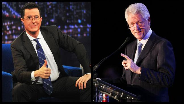 Stephen Colbert Bill Clinton Split - H 2013